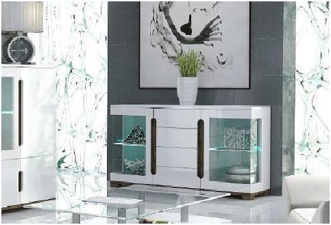 Costa White Gloss Sideboard Glass Door - 2583