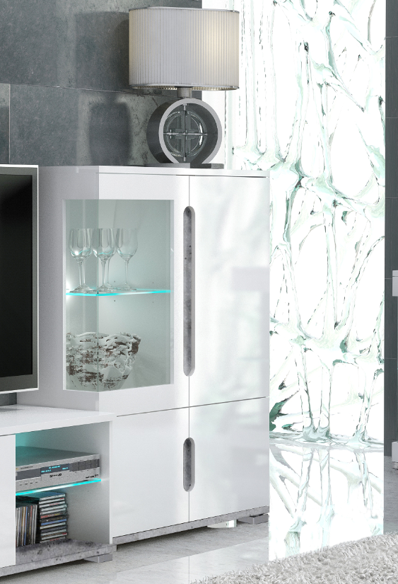 Elise White High Gloss And Grey Low Display Cabinet T12 - 3024