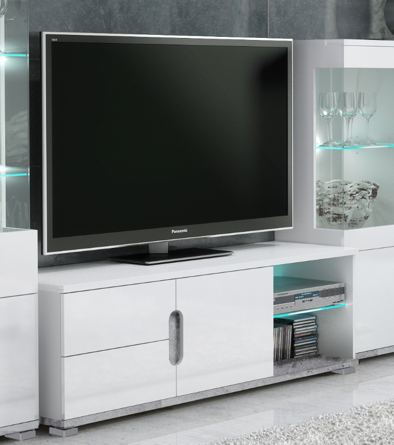 Elise White High Gloss And Grey TV Unit T63- 3022