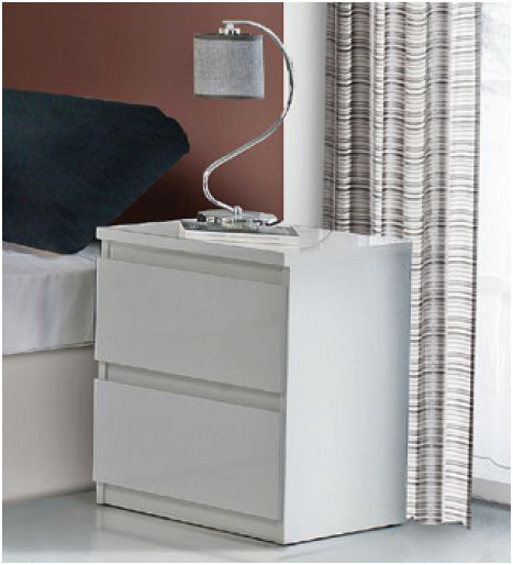 Louise White Gloss Bedside Table - 2413