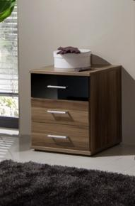 Milano Black and Walnut Bedside Chest Of Drawers - 2284