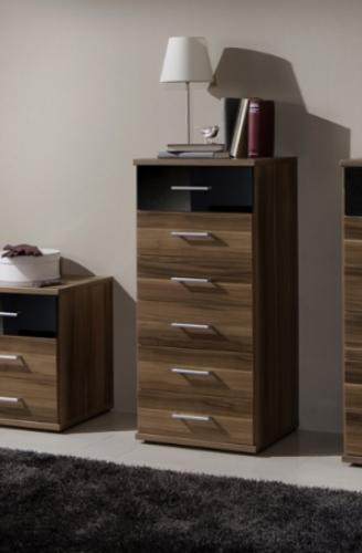 Milano Black and Walnut Narrow Chest Of Drawers - 2283