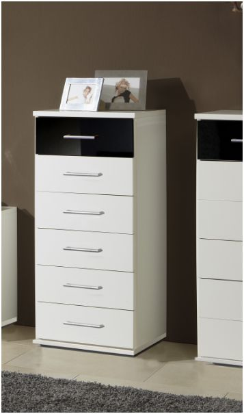 Milano Black and White Narrow Chest Of Drawers - 2295