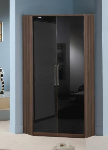 Milano Black Gloss and Walnut 2 Door Corner Wardrobe - 2280