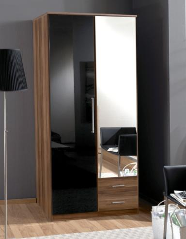 Milano Black Gloss and Walnut 2d 2drw Wardrobe - 2291