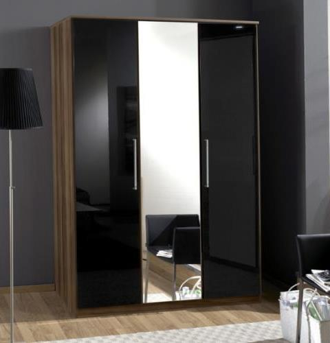 Milano Black Gloss and Walnut 3 Door Wardrobe - 2276