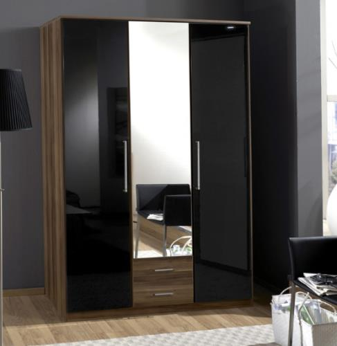 Milano Black Gloss and Walnut 3d 2drw Wardrobe - 2278