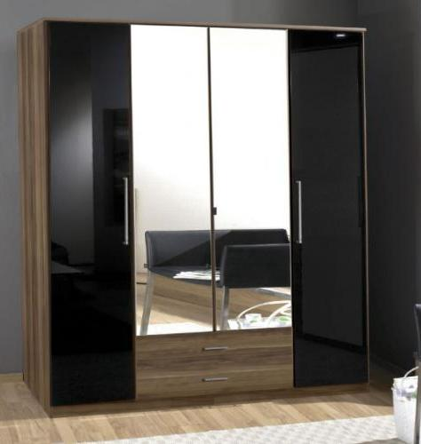 Milano Black Gloss and Walnut 4d 2drw Wardrobe - 2279