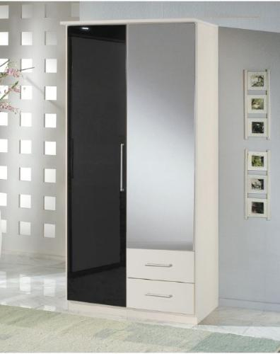 Milano Black Gloss and White 2d 2drw Wardrobe - 2277