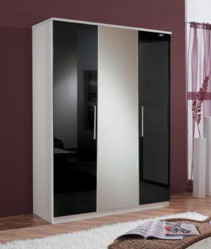 Milano Black Gloss & White 3 Door Wardrobe - 2286