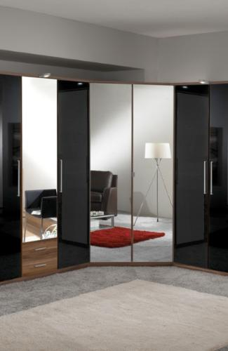 Milano Mirror and Walnut 2 Door Corner Wardrobe - 2281