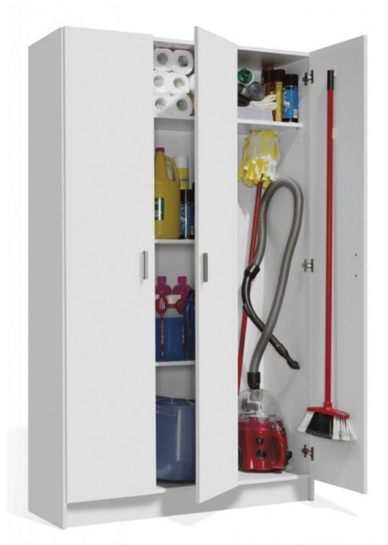 Multi Purpose White Wide Storage Cupboard 3 Door - 2591