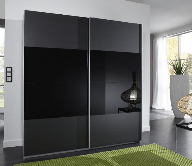 Munich 2 door sliding wardrobe charcoal black and black glass for Black sliding glass doors