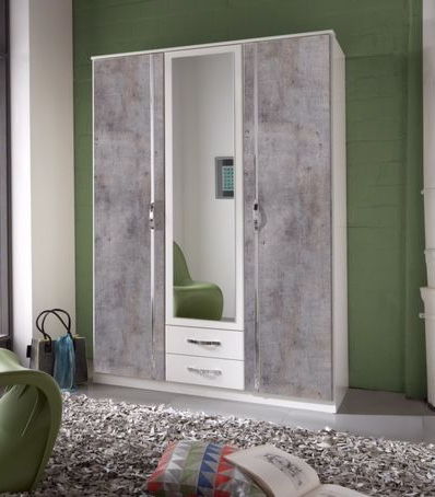 Ramina Concrete Grey and White 3 Door 2 Drawer German Wardrobe - 2659