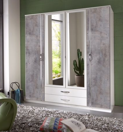 Ramina Concrete Grey and White 4 Door 2 Drawer German Wardrobe - 2660