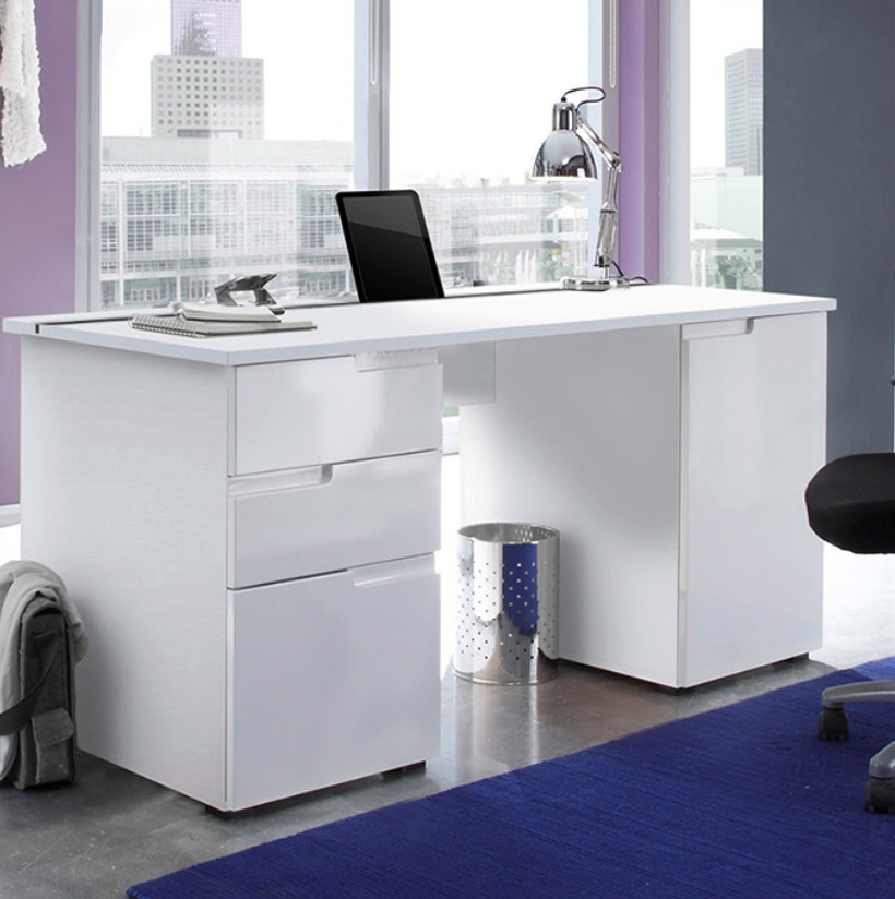 Santino Large White Gloss Computer Desk S15 2617