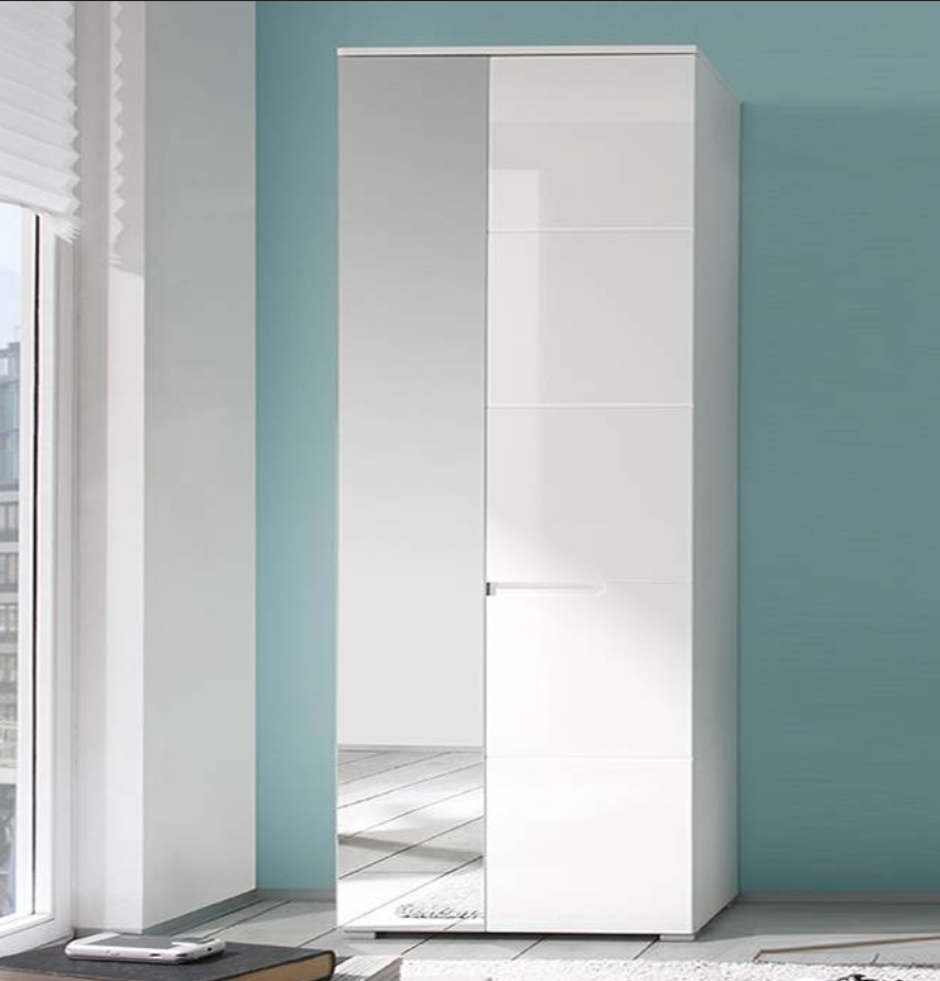 Santino White Gloss Slim Wardrobe With Mirrored Door S22
