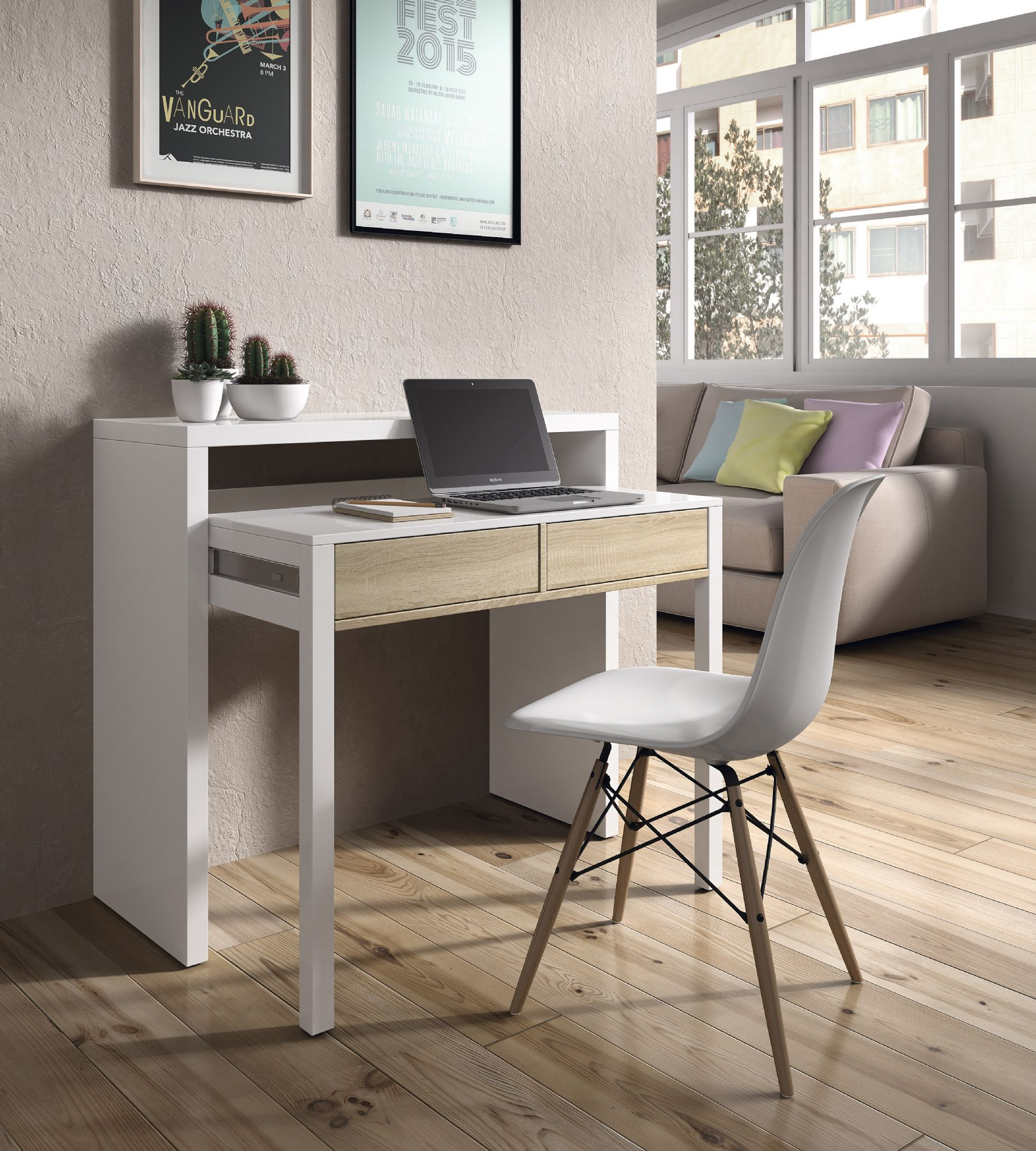 Turin Extending Console Table White And Oak Amos Mann